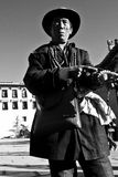 A Potala Palace man in b and w Lhasa, Tibet Royalty Free Stock Image