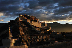 Potala Palace in the morning. The Potala Palace illuminated by the first rays of the morning sun in Lhasa, Tibet, China Royalty Free Stock Image