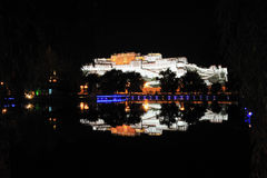 Potala Palace at night. The Potala Palace illuminated with reflection at night in Lhasa, Tibet, China Royalty Free Stock Photos