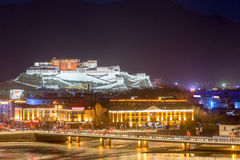The potala palace at night Royalty Free Stock Images