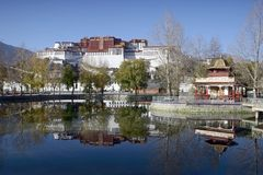 Potala Palace, Tibet. Potala Palace reflection in Lhasa, Tibet Royalty Free Stock Photography