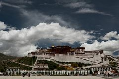 Potala Palace Time Lapse. Dalai lama place. Lhasa, Tibet. The building measures 400 metres east-west and 350 metres north-south, with sloping stone walls Stock Image