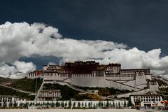 Potala Palace Time Lapse. Dalai lama place. Lhasa, Tibet. The building measures 400 metres east-west and 350 metres north-south, with sloping stone walls Royalty Free Stock Images