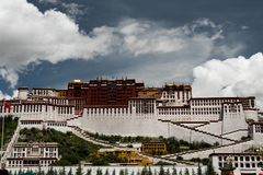 Potala Palace Time Lapse. Dalai lama place. Lhasa, Tibet. The building measures 400 metres east-west and 350 metres north-south, with sloping stone walls Stock Photography