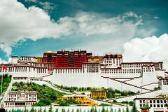 Potala Palace Time Lapse. Dalai lama place. Lhasa, Tibet. The building measures 400 metres east-west and 350 metres north-south, with sloping stone walls Royalty Free Stock Photography