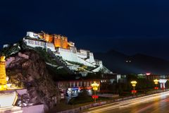Potala Palace under the night. Most of the photographers who traveled to Lhasa will go to the Potala Palace in the evening. When I arrived at the shooting Royalty Free Stock Images