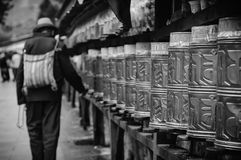 Potala Prayer Wheels Stock Photo