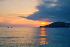 Potami beach scenic view to Ionian Sea during sunset, Himara town, Albania stock photography