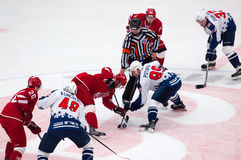 A. Potapov (89) and R. Horak (15) on face-off Stock Images