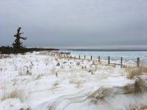 Potargana, śnieżna plaża na jezioro michigan przy roztoki przystanią, MI Obraz Royalty Free