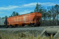 Potash Corp Caboose del treno del carico sulla ferrovia fotografie stock