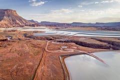 Potash evaporation ponds aerial view. POTASH, UT, USA - MAY 7, 2017: Aerial view of potash evaporation ponds managed by Intrepid Potash, Inc., the US largest royalty free stock photos