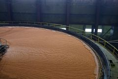 Potash flotation tanks. Filled with mineral mortar royalty free stock photo