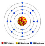 Potassium. 3d render of atom structure of potassium isolated over white background Stock Photos