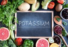 Potassium rich diet. Fresh fruits vegetables and pulses with potassium nutrition royalty free stock photo