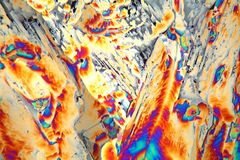 Potassium sulfate under the microscope. (magnification 80x and polarized light). Potassium sulfate is a common reagent in fertilizers stock photos