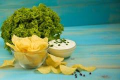 Potatis Chips Homemade arkivbild