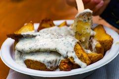 Potatis med kvarken royaltyfria bilder