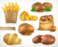Potatis- och småfiskchiper Uppsättning för grönsakvektorsymbol Arkivfoto