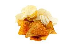 Potatis- och tortillachiper Arkivfoto