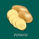 Potatis på det vita bakgrundsslutet upp, mall, baner Arkivbild