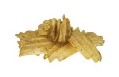 Potatis som stekas på den vita bakgrunden Royaltyfri Bild