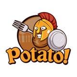Potatis Spartan Warrior Cartoon royaltyfri illustrationer
