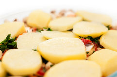 Potatisar och champinjonmaträtt arkivfoton