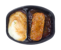 Potatisar och Meat Loaf lagad mat TVmatställe Royaltyfri Foto