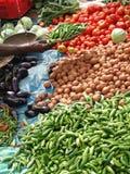 Potatisar och varma gröna chilis Arkivfoton