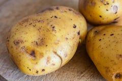 Potatisar på en skärbräda i closeup arkivbild