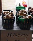 Potatisar som är till salu i korgar Arkivbild