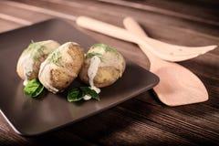 Potatisar tjänas som på maträtt med basilikasås och fänkål Royaltyfri Fotografi