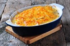 Potatiseldfast form med höna, lökar och ost Royaltyfria Foton