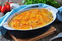Potatiseldfast form med höna, lökar och ost Royaltyfri Foto