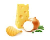 Potatiskrusningschiper med den isolerade ost och löken Fotografering för Bildbyråer