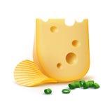 Potatiskrusningschiper med den isolerade ost och löken Arkivbild