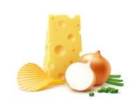 Potatiskrusningschiper med ost och löken Arkivfoton