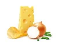 Potatiskrusningschiper med ost och löken Arkivbilder