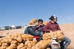 Potatissäljare på en irakisk gata royaltyfri bild