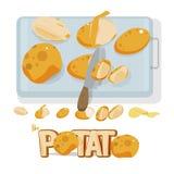 Potatisuppsättning med kniven och skärbrädan bokstavsdesign - vecto Royaltyfria Bilder