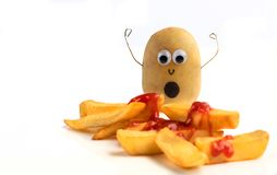 Potatisvittne till ett mord av chiper arkivfoton
