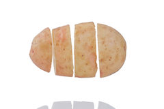 Potato. Slices Floating In The Air with Reflection,  on White Background Stock Photography