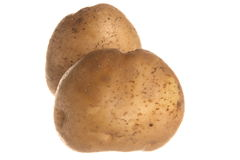 Potato. Fresh brown potato isolated on white background Stock Photos