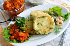 Potato And Greens Cakes With Two Sauces Royalty Free Stock Image