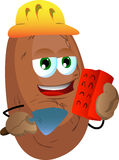 Potato as bricklayer with brick and trowel Stock Images
