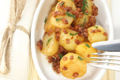 Potato with bacon bits as warm salad. Roasted potato with bacon bits as warm salad stock photos
