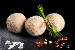 Potato balls stuffed with meat ready for frying. Spanish tapas Stock Image