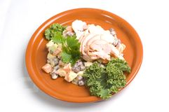 potato & bean salad w/chicken Royalty Free Stock Image