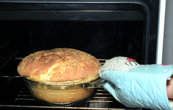 Potato bread in oven. Taking out potato bread from oven with muffle Royalty Free Stock Photos